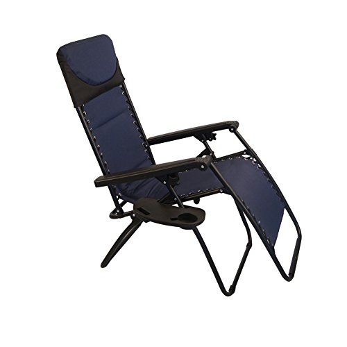 Sundale Outdoor Padded Quilted Zero Gravity Chair   Navy Blue