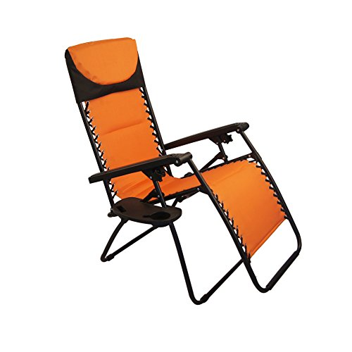 Sundale Outdoor Padded Quilted Zero Gravity Chair - Orange