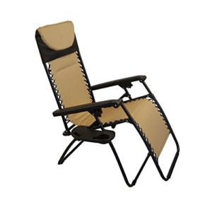 Sundale Outdoor Padded Quilted Zero Gravity Chair - Tan