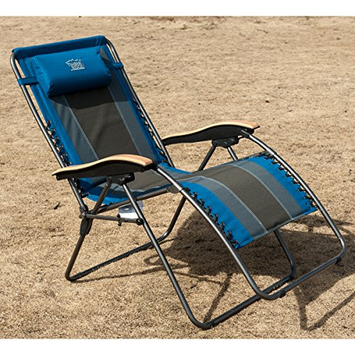 Timber Ridge Oversized Xl Padded Zero Gravity Chair Blue