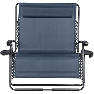 Sundale Outdoor 2 Person Zero Gravity Chair Patio Loveseat - Navy Blue