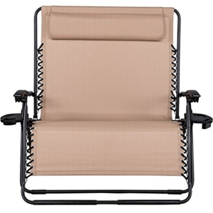 Sundale Outdoor 2 Person Zero Gravity Chair Patio Loveseat - Tan