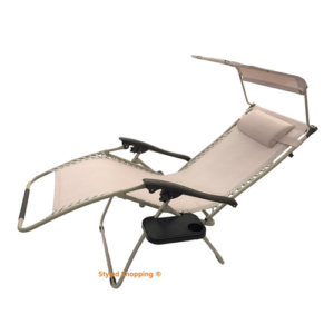 Deluxe Oversized Extra Large Zero Gravity Chair with Canopy + Tray - Beige