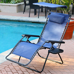 Jeco Oversized Zero Gravity Chair with Sunshade and Tray - Steel Blue