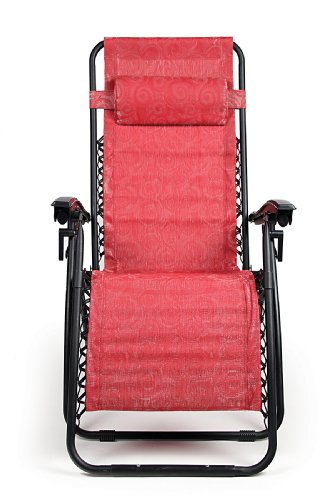 Camco Red Zero Gravity Recliner with Swirl Pattern