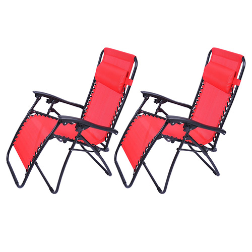 Outsunny Zero Gravity Recliner Lounge Chair Red - Pack of 2