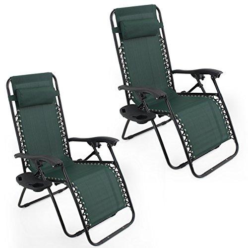 Arksen Dark Green Zero Gravity Patio Chairs 2 Pack