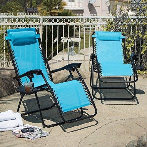 Arksen Sky Blue Zero Gravity Patio Chairs 2 Pack
