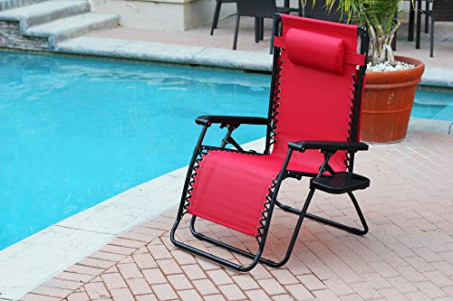 Jeco Red Oversized Zero Gravity Chair with Sunshade