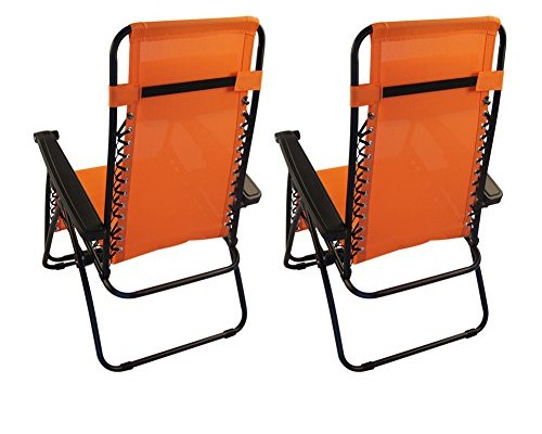 Sundale Outdoor Zero Gravity Chair 2 Pack - Orange
