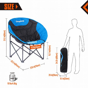 KingCamp Moon Saucer Camping Chair Folded Dimensions